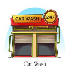 Car wash station or carwash building auto washer vector