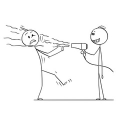 cartoon of spiteful man blowing at another man vector image
