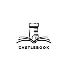 castle with book logo design symbol v vector image