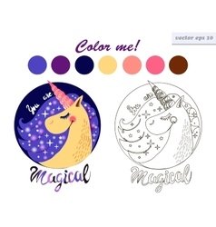 Coloring book unicorn vector