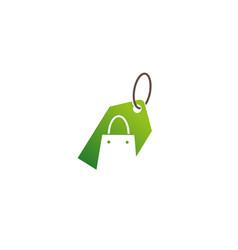 creative green bag shop label logo design symbol vector image
