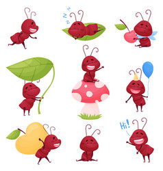 Cute ant character sleeping and carrying big apple vector