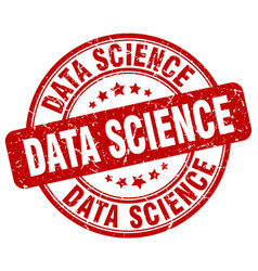 Data science red grunge stamp vector