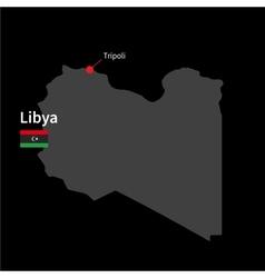 Detailed map libya and capital city tripoli vector
