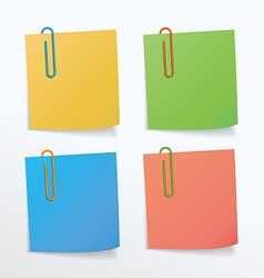 Different colors of paper clips and paper notes vector