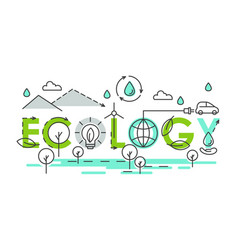 ecology world lettering composition colorful vector image