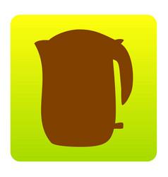 electric kettle sign brown icon at green vector image