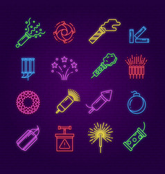 firework icons neon festival dynamite led party vector image