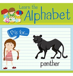 Flashcard letter P is for panther vector image