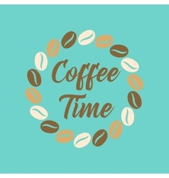 Flat icon on background bean Coffee time logo vector