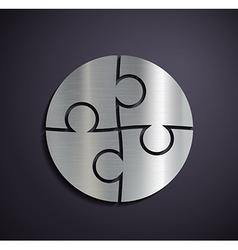 Flat metallic logo puzzle vector