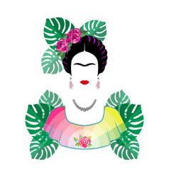 frida kahlo portrait isolated on white vector image