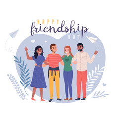 friendship day smiling young friends group happy vector image
