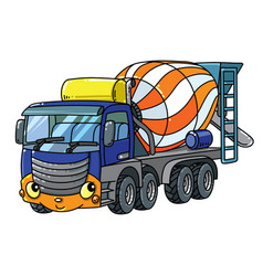 Funny concrete mixer truck with eyes and mouth vector