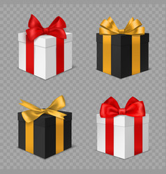 gift box with bow black and white vector image