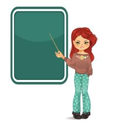 Girl pointing to blackboard vector