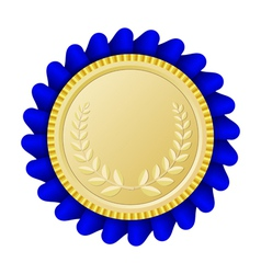 Gold medallion with blue ribbon vector