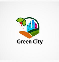 Green city logo designs concept icon element and vector