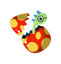 green cute dino kid exit from cracked egg vector image