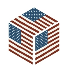 Hand draw isometric squared flag of USA vector image