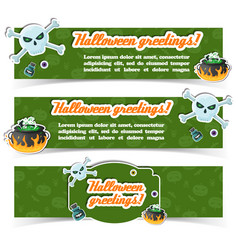 happy halloween party festive horizontal banners vector image