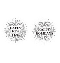happy new year festive frame with black rays vector image