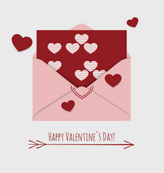 happy valentines day card with envelope and vector image vector image