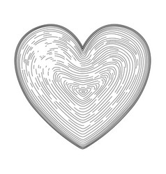 heart symbol hand drawn like fingerprint print vector image