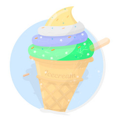 ice cream bright dessert icon vector image