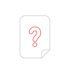 icon concept of paper with question mark color vector image