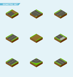 Isometric road set of driveway cracks down and vector