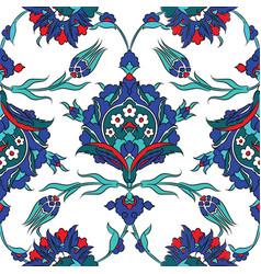Iznik ceramic tiles floral pattern vector