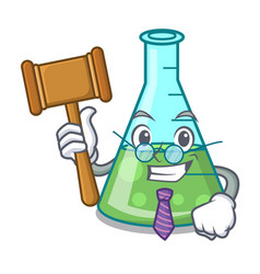 Judge science beaker mascot cartoon vector