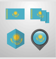 Kazakhstan flag design set vector