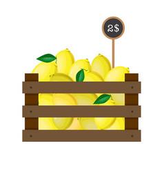 lemons in wooden grate vector image