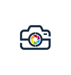 Lens camera logo icon design vector