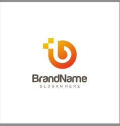 Letter b tech logo circular design stock vector