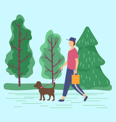 Man carrying bag walking don on leash vector