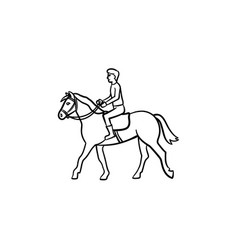 man riding horse with saddle hand drawn icon vector image