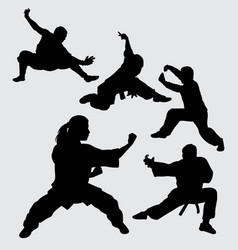 martial art and kungfu sport silhouette vector image