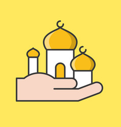 Masjid in hand ramadan filled outline icon set vector