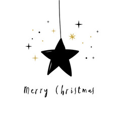 merry christmas with a black star vector image