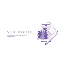 mobile business web banner with copy space digital vector image