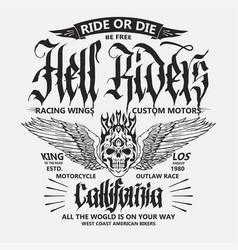 motorcycle biker sport t-shirt emblem vector image
