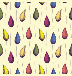 multicolor hand drawn flower buds and stems in vector image