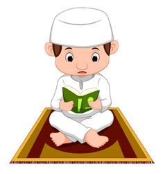 muslim boy praying vector image
