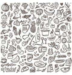 natural food - doodles set vector image