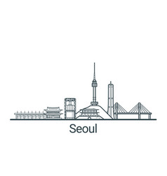 outline seoul banner vector image