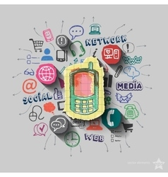 Phone and collage with web icons background vector image