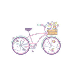 Pink retro bicycle with flowers in a wooden box vector